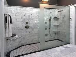 White bathroom decoration using corner mounted wall white tile shower  shelving including white master