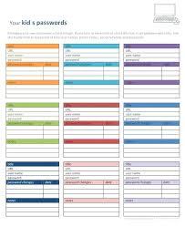 Printable 3 Column Spreadsheet Template Username Password