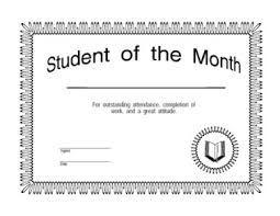 Student Of The Month Certificates Student Of The Month Certificate One Certificate Templates