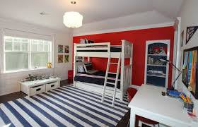 Bedrooms:Red Accent Boys Bedroom With White Bunk Bed And Large Striped Rug  Also White
