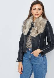 fur collar leather jacket