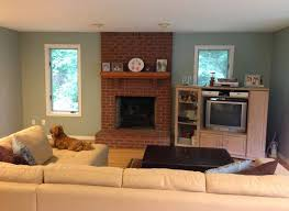 living room with brick fireplace paint colors furniture info