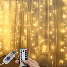 Dây Đèn LED Trang Trí Rèm Cửa 300 Bóng 10 sợi 3x3 Mét Kèm Remote