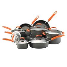 rachael ray pan set. Plain Ray Rachael Ray 14Piece GrayOrange Cookware Set With Lids For Pan C