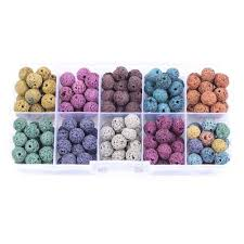 energy color artificial lava stone bead box kit diy jewelry making material