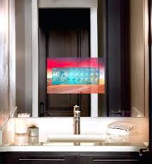 tv behind mirror bathroom mirror become one tv in mirror bathroom cost