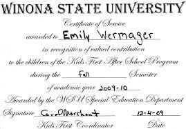 Volunteer Certificate Volunteer Certificate Emily Wermagers Professional Portfolio