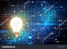 Binary Light Bulbs Glowing Light Bulb On Blue Background Royalty Free Stock Image
