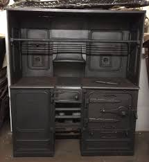 red antique victorian cast iron kitchen cooking range fireplace hob ta271