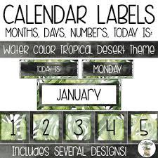 Black Classroom Calendar Pocket Chart Pocket Chart Calendar Labels Watercolor Tropical Desert Theme