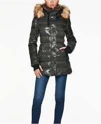 S13 Coat Size Chart Chelsea Faux Fur Trim Hooded Puffer Coat