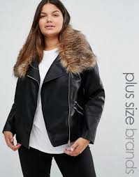 womens new look leather jacket black web plus faux fur collar look
