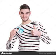 白い背景の上の運転免許証を持つ男 ストック写真 Belchonock 140115318