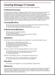 Cleaning Manager Cv Sample Myperfectcv