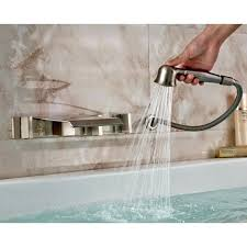 wall mounted bathtub faucets brushed nickel wall mount waterfall bathtub faucet with handheld in mounted faucets wall mounted bathtub faucets