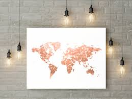 World Map Home Decor Gold World Map Etsy