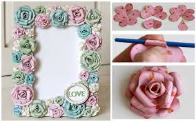 diy paper rose flowers photo frame step by step