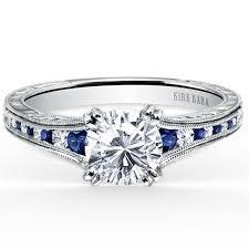 kirk kara stella blue sapphire diamond channel set engagement ring