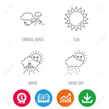 Rainy Day Chart Weather Strong Wind And Rainy Day Icons Sun Linear Sign Award