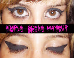 simple scene emo makeup thick winged eyeliner