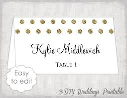 Gold Wedding Place Card Template Polka Dot Diy Etsy