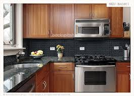 Black Granite Countertops With Tile Backsplash Interesting Black Countertops With Backsplash Black Granite Glass Tile Mixed