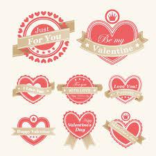 free vector valentine labels vector