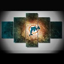5 pieces miami dolphins canvas prints wall art on dolphin canvas wall art with 5 pieces miami dolphins canvas prints wall art help people shop