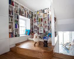 home office library design ideas. small trendy medium tone wood floor home office library photo in london with white walls design ideas i