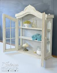 whitewashed vintage wall curio cabinet
