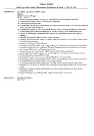 Quality Assurance Manager Resume Sample Velvet Jobs