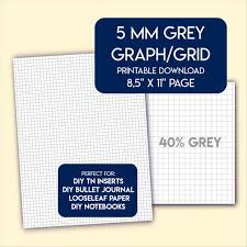5 Mm Grey Graph Grid Paper Printable Us Letter Size Etsy