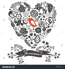 Heart And Ribbon Designs Bright Floral Heart Ribboncool Concept Design Stock Vector