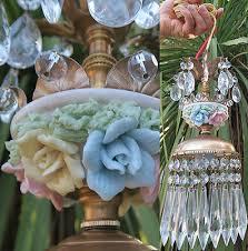 1 brass beaded chandelier swag vintage lamp porcelain rose flowers prisms mini