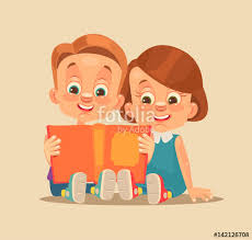 children brother and sister characters read book vector flat cartoon ilration