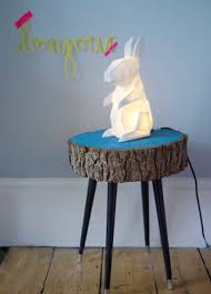 white origami rabbit lamp by house of disaster