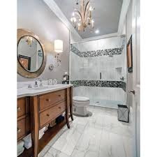 MS International Carrara  In X  In Glazed Polished Porcelain - Glazed bathroom tile