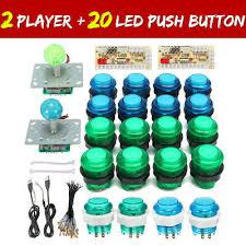 2 Players <b>DIY Arcade Joystick Kit</b> PC Game USB <b>Controller</b> LED ...