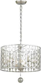crystorama 545 sa layla contemporary antique silver drum pendant lighting fixture loading zoom