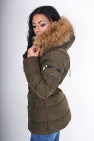 tia khaki luxury quilted coat belt with large rac fur trim