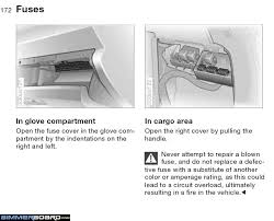fuse box diagram bmw forums you push inward the lid to the front fuse box will then swivel down and expose all of the fuses and there should be a fuse index adhered to the lid