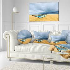Beach Design Pillows Designart Fishing Boat On Beach With Dark Clouds Seashore Throw Pillow Ebay