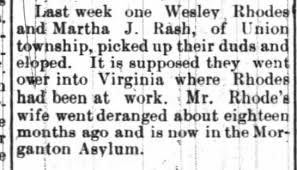 Wesley Rhodes and Martha J Rash of Union eloped UNION REPUBLICAN 07/09/1893  - Newspapers.com