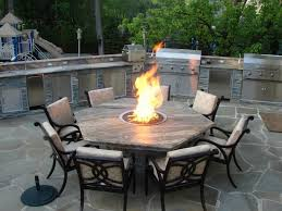 Hexagon Fire Pit Dining Table Closer to coffee table size and