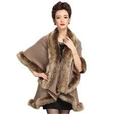 trendy poncho knitwear women oversized sweater faux fur coat shawl collar sweaters