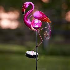 metal solar powered flamingo bird