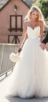 simple spaghetti straps layers tulle ball gown wedding dress