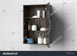 Open Dark Brown Bathroom Cabinet Cosmetics Stock Illustration ...