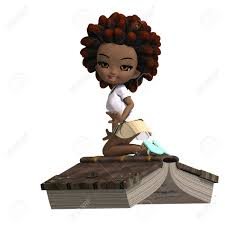 cute little cartoon with curly hair is flying on a book 3d rendering