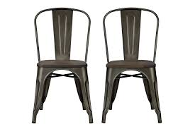 black metal dining chairs. Amazon.com: DHP Fusion Metal Dining Chair With Wood Seat, Set Of Two, Antique Copper: Kitchen \u0026 Black Chairs H